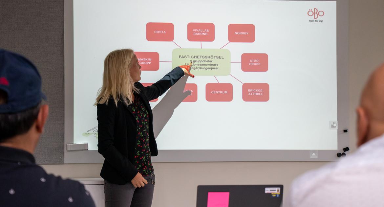 Kvinna håller ett föredrag och pekar på  presentationen som visas bakom henne.